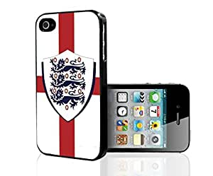 White and Red England Flag with Three Lions Coat of Arms Soccer Fan Art Hard Snap on Phone Case (iPhone 5/5s)