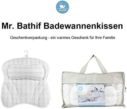 Mr.Bathif Badewannenkissen,Spa Badekissen mit 6 Saugn/äpfe Badewanne Kopfkissen Air Mesh Kissen Badewanne Nackenkissen f/ür Schulter R/ücken