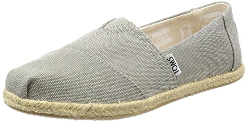 TOMS Women's Seasonal Classics Drizzle Grey Washed Canvas Rope Sole Loafer