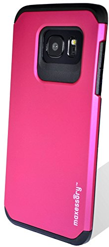 Galaxy S7 Edge Case, Maxessory Hot Pink Globetrotter Heavy-Duty Protective Hybrid Cover w/Durable Shock-Absorbing Full-Body Protective Tough Hard Shell ()