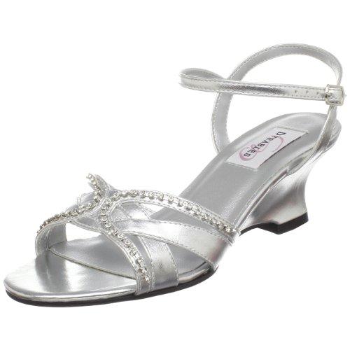2' Wedge Shoes - Dyeables Women's Peg Wedge Sandal,Silver Metallic,8 D US