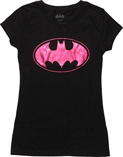 (Batman Batgirl Purple Foil Logo Juniors T-Shirt,)