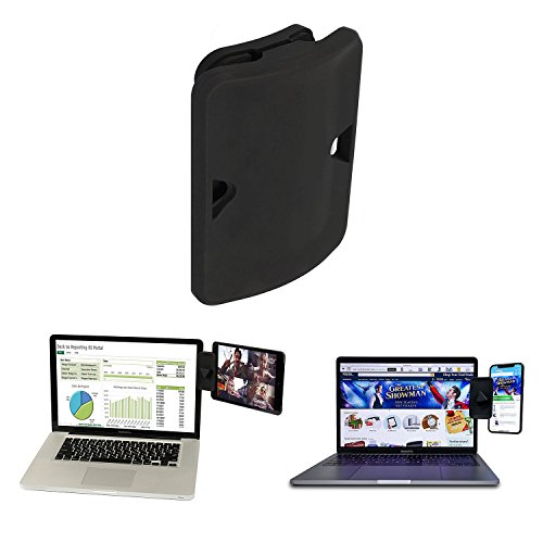 Side Clip Mount - Dual Display Side Mount Clip for Dual Monitor Experience iPad Holder and Tablet Stand Mount for Your Laptop, Instant Second Display Compatible with Most Laptops - Black