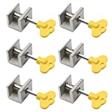 M-Aimee 6 Sets Sliding Window Locks Stop Aluminum Alloy Door Frame Security Lock with Keys (6 Pcs Single Locks)