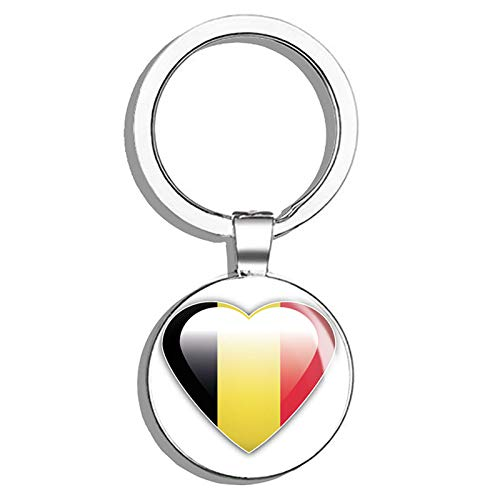 Belgium Flag Glossy Heart Round Stainless Steel Metal Key Chain Keychain Ring Double Sided Deisgn