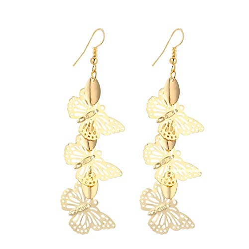 (IDB Delicate Filigree Dangle Triple Butterfly Drop Hook Earrings - Available in Silver and Gold Tones (Gold)