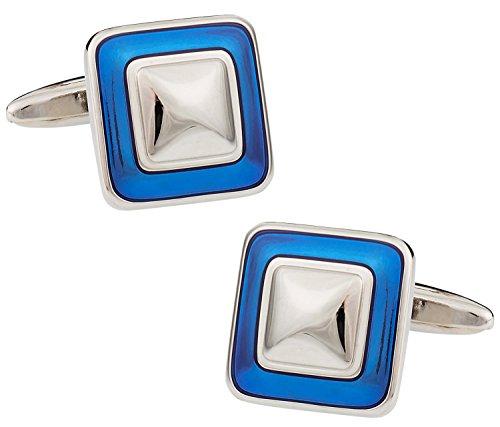 Reflective Blue Square Enamel Cufflinks silver-tone by Cuff-Daddy (Square Cufflinks Silver Enamel)