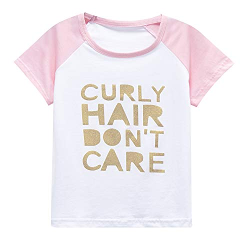 Tee Toddler Infant - Girls Raglan Tees for Short Sleeve Cotton T-Shirt Baseball Jesey Curly Hair Dont Care