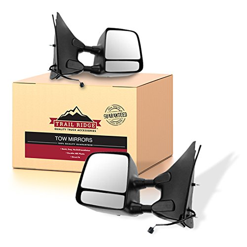 Trail Ridge Tow Mirror Power Textured Black Chrome Pair Set for Nissan Suzuki ()