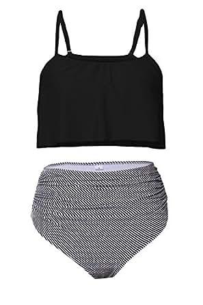 Byoauo Womens High Waisted Bikini Ruffle Thin Shoulder Straps Swimsuit Two Pieces Swimwear,Black,Small