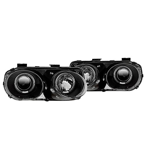 Winjet WJ10-0217-04 Black Housing/Clear Lens Projector Head light with LED Halo (Acura Integra) ()