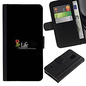 NEECELL GIFT forCITY // Billetera de cuero Caso Cubierta de protección Carcasa / Leather Wallet Case for Samsung Galaxy S5 V SM-G900 // MENSAJE DE VIDA