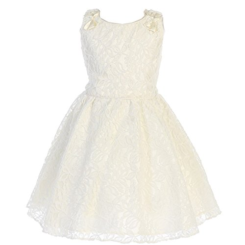 Price comparison product image Angels Garment Little Girls Ivory Charmeuse Lace Flower Girl Easter Dress 5-6