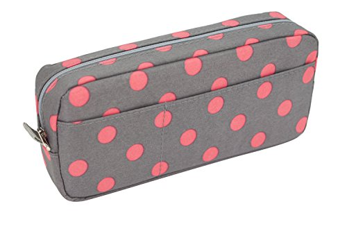Blue Monaco Cute Pencil Case for Girls - Pen Pouch - Makeup Bag - Gray with Pink Polka Dots - 8 Inch By 4 Inch (Display Lead 3 Tier)