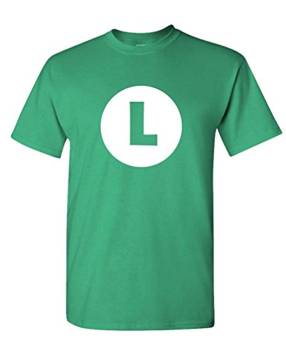LUIGI - video game costume halloween funny - Mens Cotton T-Shirt, XL, -
