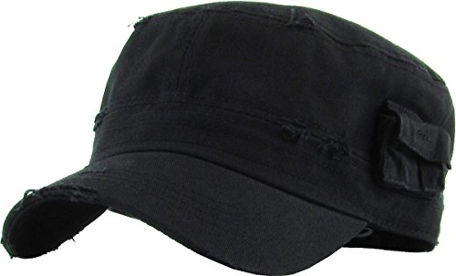 KBETHOS Cadet Army Cap Basic Everyday Military Style Hat (Large, (Distressed Pockets) Black)