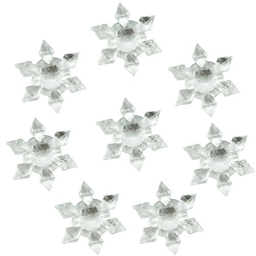 Etmact 40pcs Craft Acrylic Clear Crystal Snowflakes Ornaments for Tree Trim, Wedding Table Christmas Decoration, Package Embellishments