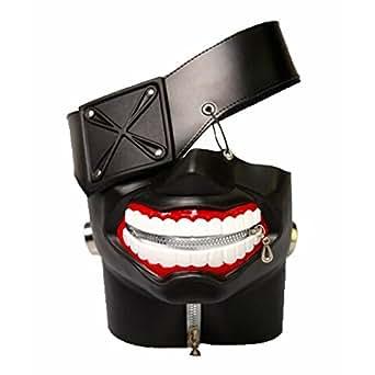 Rulercosplay Tokyo Ghoul Kaneki Ken 3D PU Leather Mask Cosplay Mask (Black 3D)