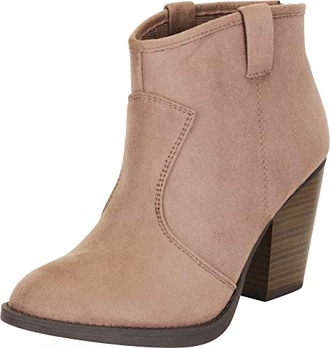 Cambridge Select Women's Country Western Stacked Chunky Heel Ankle Bootie,8 B(M) US,Smoky Taupe IMSU