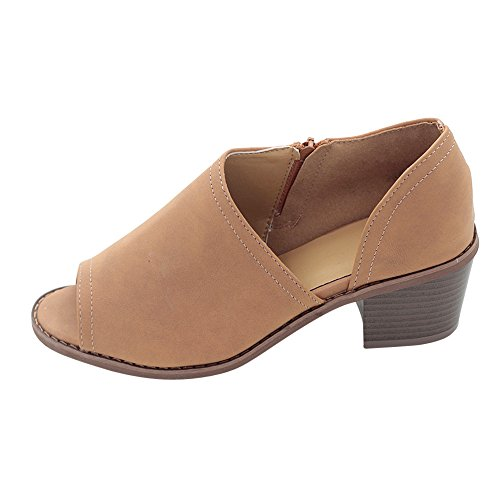 Kauneus Women Slip On Fashion Side Cuts Peep Toe Chunky Block Low Heel Ankle Booties Brown ()