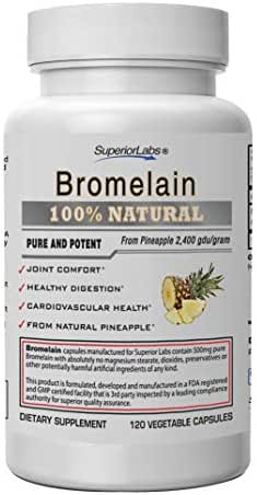 Superior Labs – Best Bromelain Non GMO Natural Supplement – Non-Synthetic – 2,400 gdu/Gram – Supports Healthy Digestion & Inflammatory Responses, Bruises, Immune – Extra Strength – 500 mg, 120 VCaps