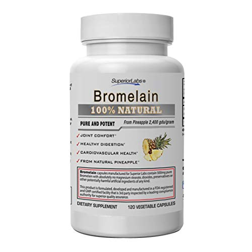 Superior Labs - Best Bromelain Non GMO Natural Supplement - Non-Synthetic - 2,400 gdu/Gram - Supports Healthy Digestion & Inflammatory Responses, Bruises, Immune - Extra Strength - 500 mg, 120 VCaps