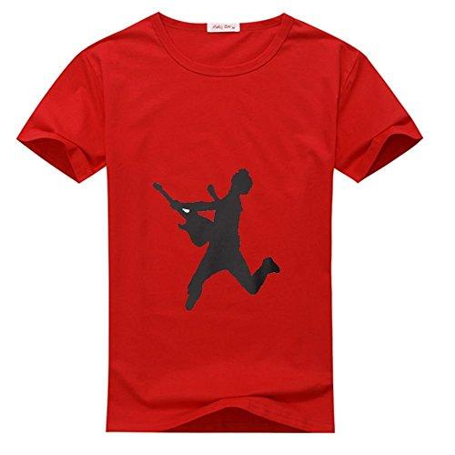 Rock Camp Rock Tee - Camp Rock Guitar Rock Out For men's Printed Short Sleeve Tee shirt Red Medium
