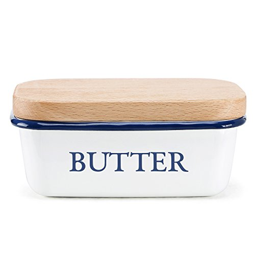 Svebake White Metal Butter Dish with Wooden Lid (Large Image)