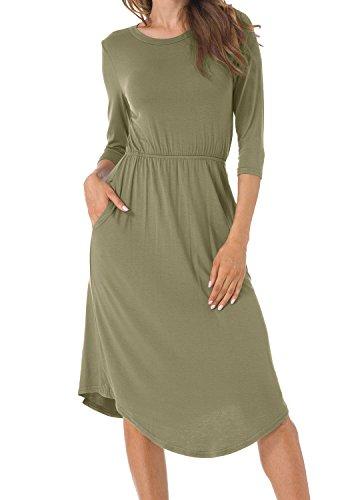 Army Dress (Levaca Womens 3 4 Sleeve Pockets Flare Swing Casual Midi Dress Army Green M)