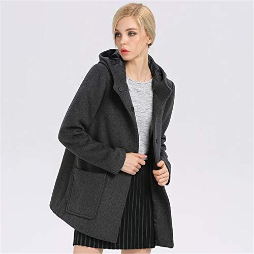 E Cálido Mujer De Lana Gruesa Otoño Abrigo Moda Invierno Gray wq0SpUpX