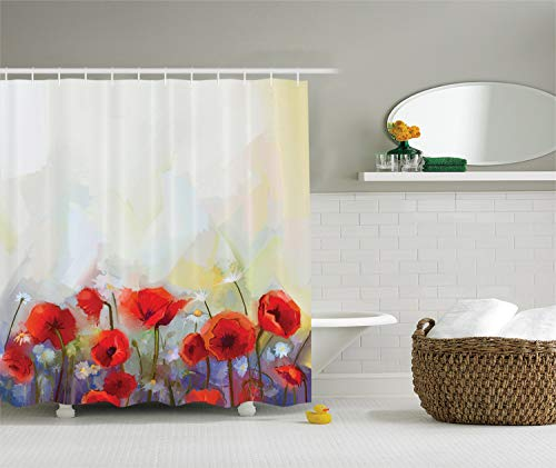 Ambesonne Watercolor Flower Decor Collection, Poppies Blossoms Meadow Wildflower Spring Season Painting, Polyester Fabric Bathroom Shower Curtain Set with Hooks, Red Ivory Orange