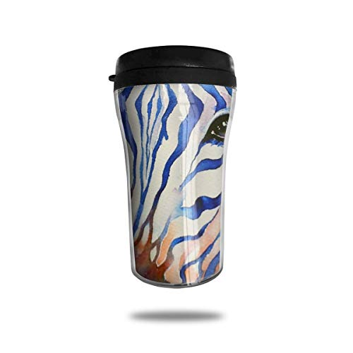 HJGKFL Watercolor Rainbow Zebra Ice Coffee Small Coffee Cup Carrying Hand Cup Reusable Plastic Curve Travel Cup Coffee Cup Asymmetric Men Children Teen Adult ()
