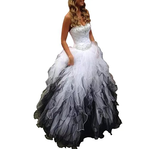 (TC Bride 2018 Sweetheart Beaded Quinceanera Dress Puffy Ombre Organza Ball Gown Prom Dress Black White)