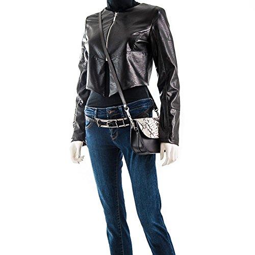 Mila - Passione Bags - Borsetta da donna in cuoio nero e e vero pitone a spalla. Animalier Made in Italy
