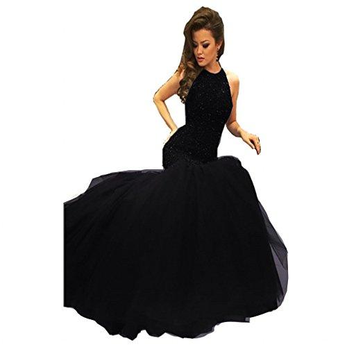 long black halter prom dress - 7