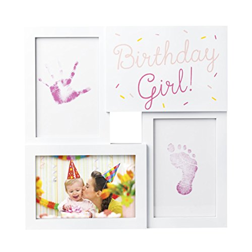 Tiny Ideas My First Birthday Print Collage Photo Frame with Included Ink Pad and Imprint Cards, Pink -