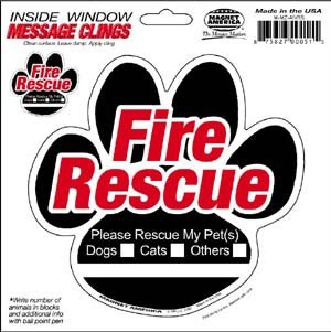 - Magnet America Animal Fire Rescue Paw Inside Static Cling
