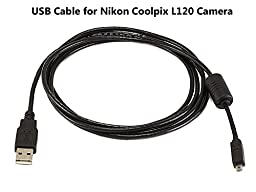 USB Cable for Nikon Coolpix L120 Camera, and USB Computer Cord for Nikon Coolpix L120