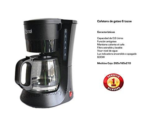 Genius-Factory-Cafetera-Coffee-Maker-06L6-Tazas-Independiente-Negro-Caf-Molido-Agua-Caliente