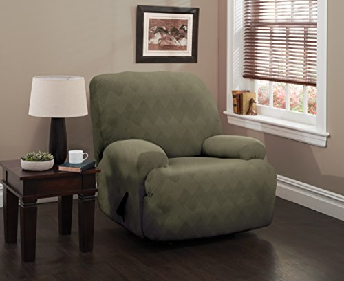 Stretch Sensations, Optic Jumbo Recliner Slipcover, Oversized Recliners, Perfect Chair Protection, Comfortable Easy Stretch Fabric (Sage)