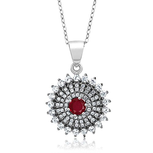 1.62 Ct Round Red Ruby 925 Sterling Silver Pendant with 18