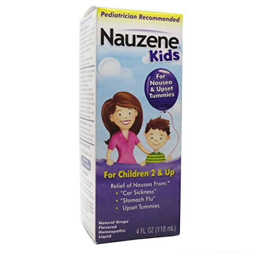 Nauzene Kids Upset Stomach & Nausea Relief Liquid Grape 4 Ounce, Dye-Free Homeopathic Nausea Relief for Upset Stomach or Car Sickness (Natural Remedies For Car Sickness In Toddlers)