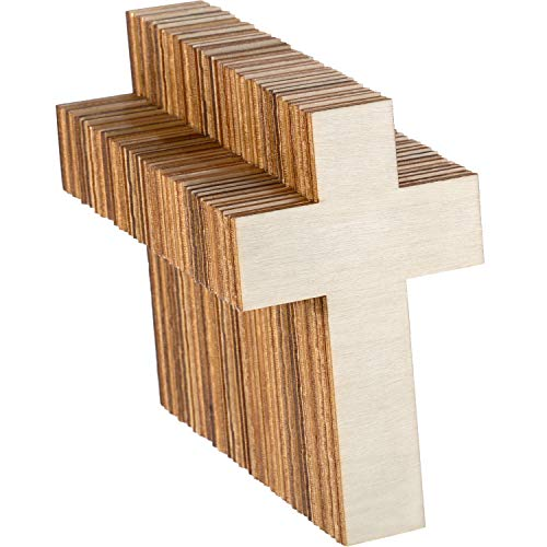 36 Pieces Blank Wood Cutouts Unfinished Cross Shaped Wooden Pieces for DIY Arts Craft Project, Decoration, Gift Tags