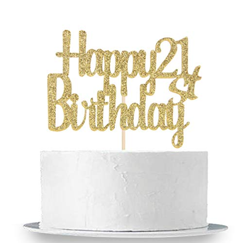 Happy 21st Birthday Cake Topper, Gold Glitter 21st Anniversary Birthday Party Cake Decorations Supplies