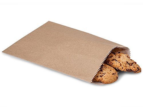Cookie Favor Bags, Kraft, 100 Pack – Glassine Lined Paper Cookie Gift Bags for Weddings Events Parties Bakery