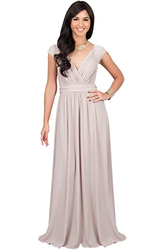 KOH KOH Womens Long Cap Short Sleeve Cocktail Evening Sleeveless Bridesmaid Wedding Party Flowy V-Neck Empire Waist Vintage Sexy Gown Gowns Maxi Dress Dresses, Tan Light Brown L ()