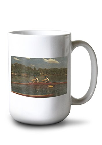 The Biglin Brothers Racing (Artist: Thomas Eakins) c. 1872 - Masterpiece Classic (15oz White Ceramic Mug)
