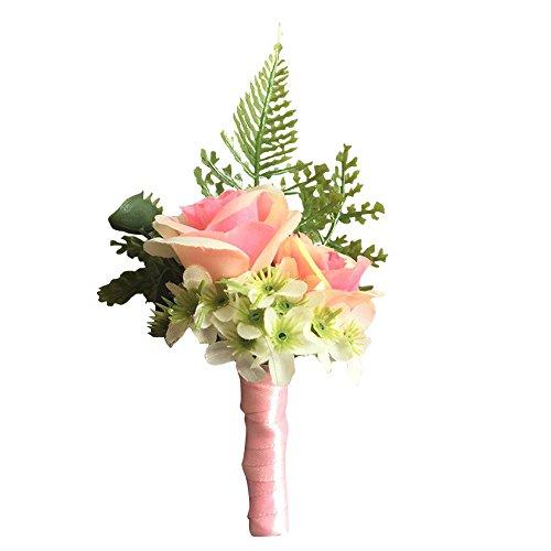 WeddingBobDIY Artificial Rose Flower Groom Boutonniere Groomsman Buttonholes Best Man Wedding Flowers Party Suit Decoration Pink (Pink Rose Boutonniere)