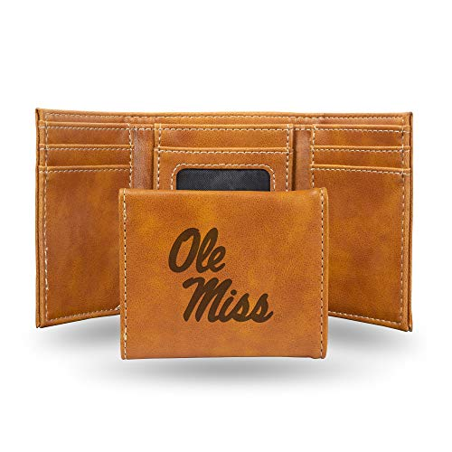 Rico Industries NCAA Mississippi Ole Miss Rebels Laser Engraved Tri-Fold Wallet, Brown