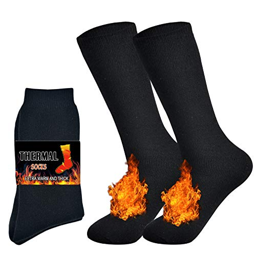 Jormatt 2 Pairs Thick Thermal Socks Soft Insulated Heated Boot Warm Fleece Boot Socks Winter Cold Weather,Men Shoes Size 6.5-9